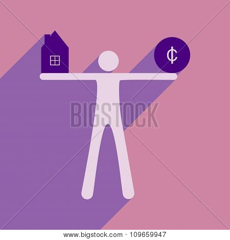Flat with shadow icon man holding house and coins