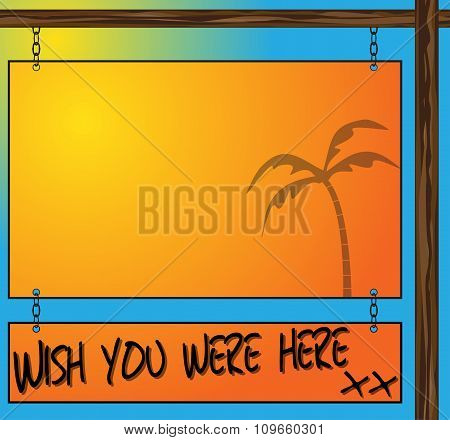 Wish You Were Here Hanging Sign Postcard