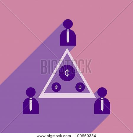 Flat with shadow icon group of people coins