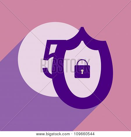 Flat with shadow icon Coin and Shield