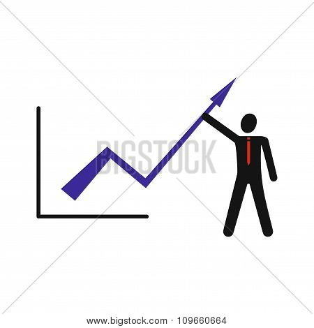 Modern flat icon Man and graph on white background