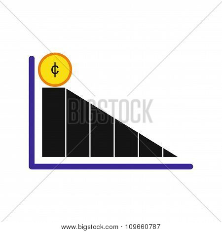Modern flat icon economic graph on white background