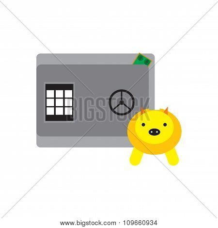 Modern flat icon safe and piggy bank
