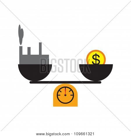 Modern flat icon House and money on scales