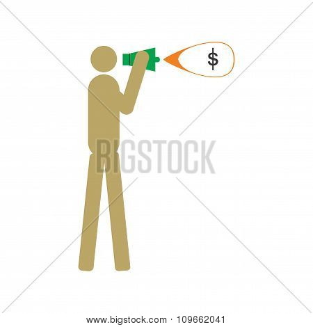 Modern flat icon man with megaphone money