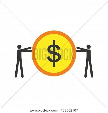 Modern flat icon stylish coin and people