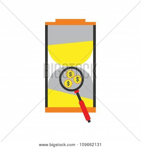 Modern flat icon stylish hourglass and coins