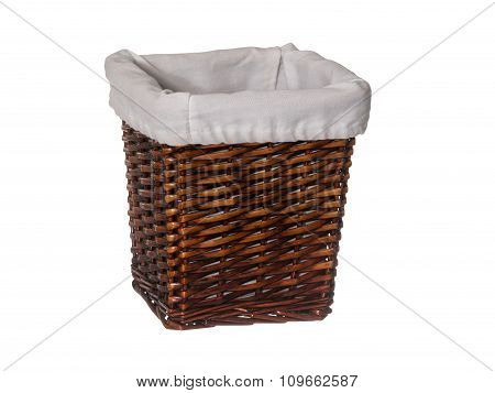 Empty Rectangle Wicker Basket With Liner Isolated On White