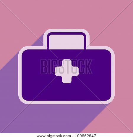 Icon of medical suitcase in flat style