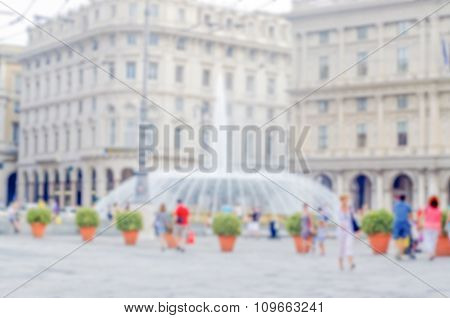 Defocused Background Of Central Genoa, Italy