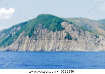 Defocused Background With The Coastline Near Cinque Terre, Italy