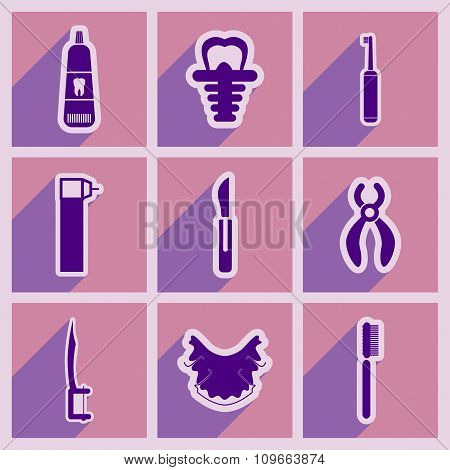 Icons of assembly stomatology in flat style