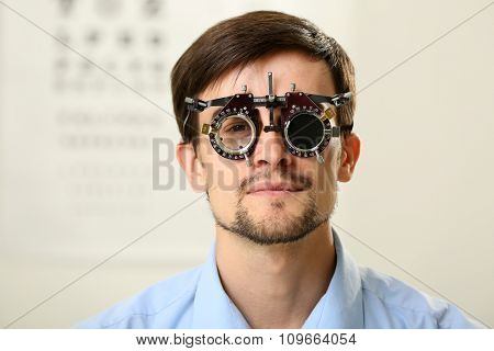 Adult male visit an optician