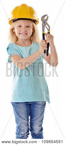 Little girl with tools isolated on white