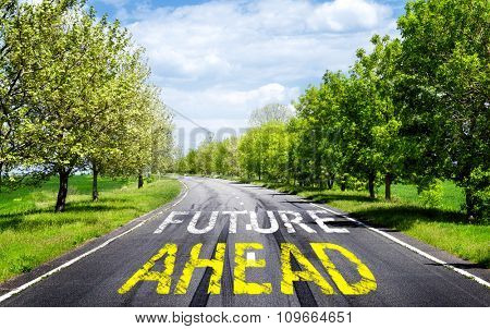 Future concept. Text Future ahead with arrow marking on road surface