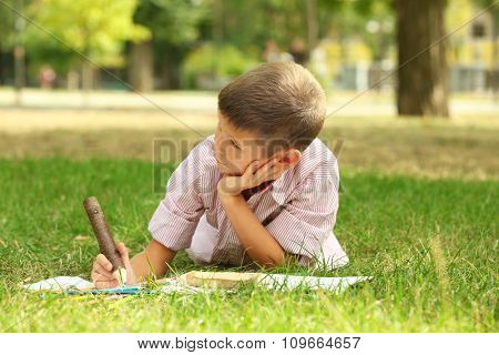 Little boy drawing in the park