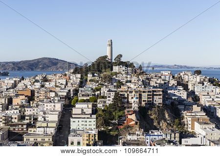 SAN FRANCISCO, CALIFORNIA, USA - January 13, 2013:  Afternoon view of Coit tower and Telegraph Hill near downtown San Francisco.
