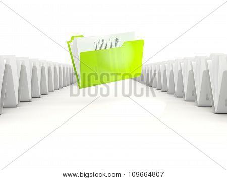 Green Folder In A Row