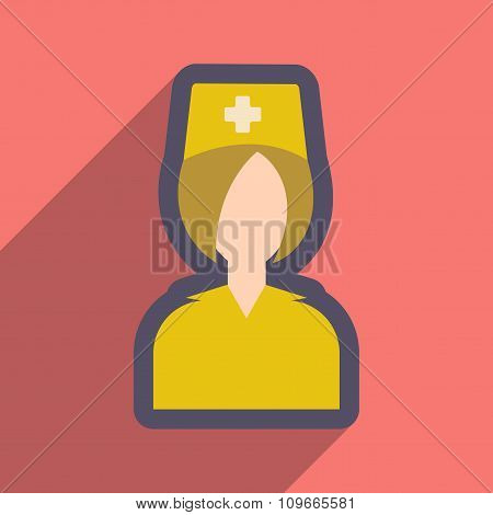 flat icon with long shadow doctor nurse