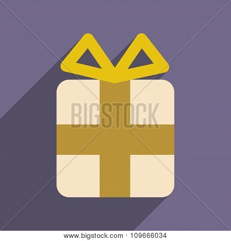 flat icon with long shadow Christmas gift