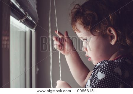 Little Kid On The Window Blinds Open.