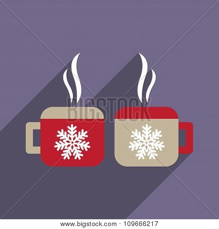 flat icon with long shadow cup snowflakes