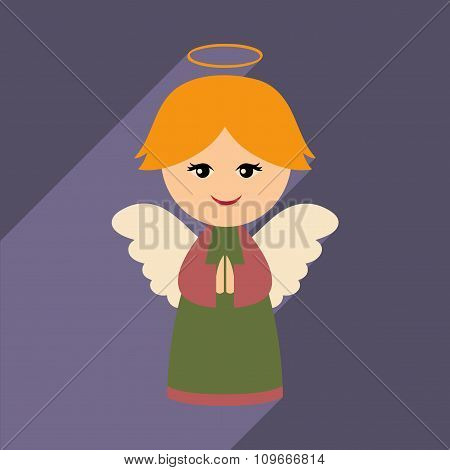 flat icon with long shadow Christmas angel
