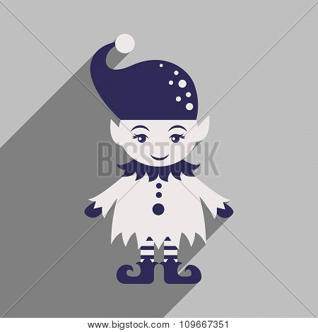 flat icon with long shadow christmas gnome