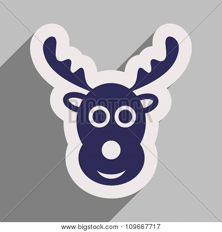 flat icon with long shadow Christmas deer