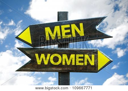 Men - Women signpost with sky background