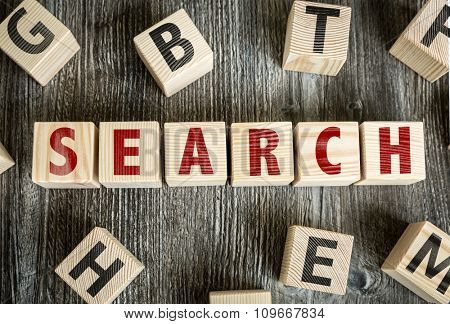 Wooden Blocks with the text: Search