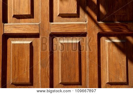 Brown wooden door background, close up