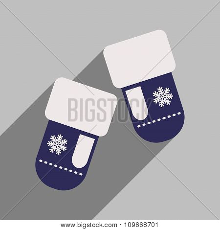 flat icon with long shadow mittens snowflakes