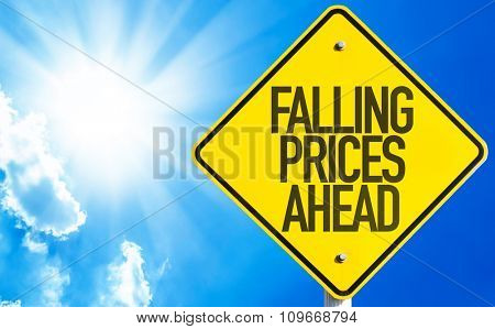 Falling Prices Ahead sign with sky background