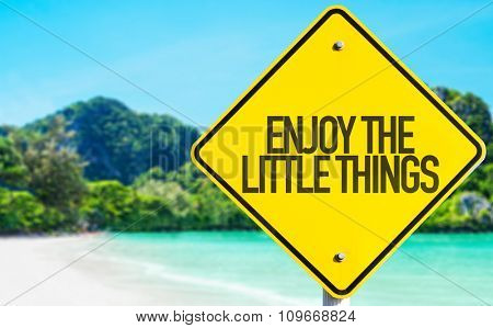 Enjoy the Little Things sign with beach background