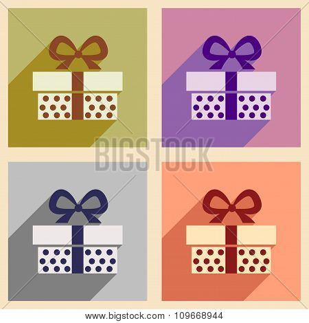 Set of flat icons with long shadow gift box