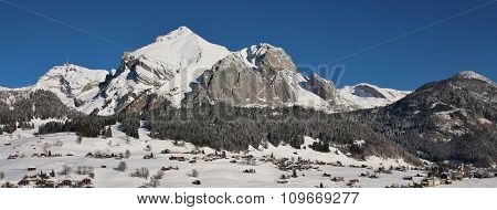 Panorama View Of The Alpstein Range In Winter