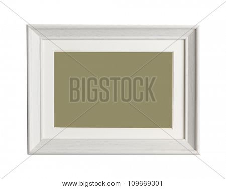 A wooden frame isolated on white background. close up