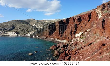 Red Beach On Santorini Island In Greece