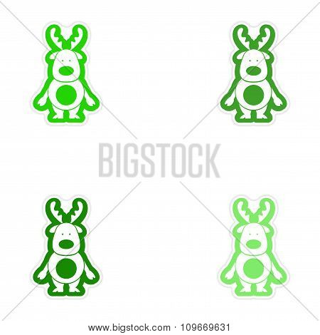 Set of paper stickers on white background Santa's reindeer