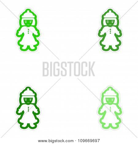 Set of paper stickers on white background Girl dressed as Santa