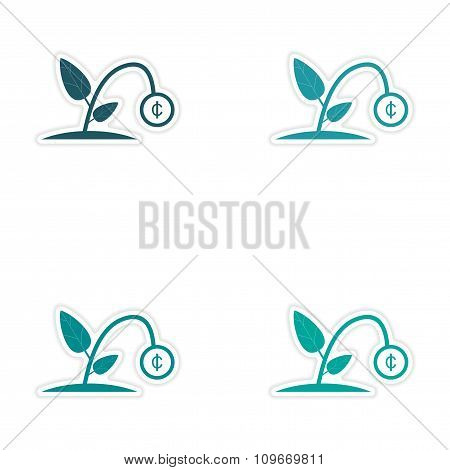 Set of 4 stylish sticker on paper - Money plant