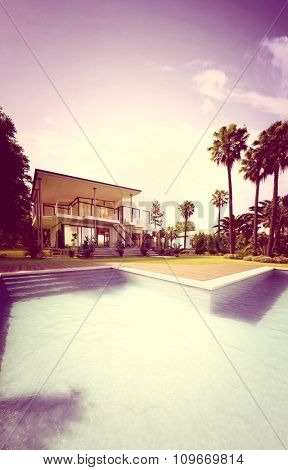 Retro Colored Image of Upscale Home - View of Luxury House from Back Yard with Swimming Pool and Surrounded by Palm Trees. 3d Rendering.