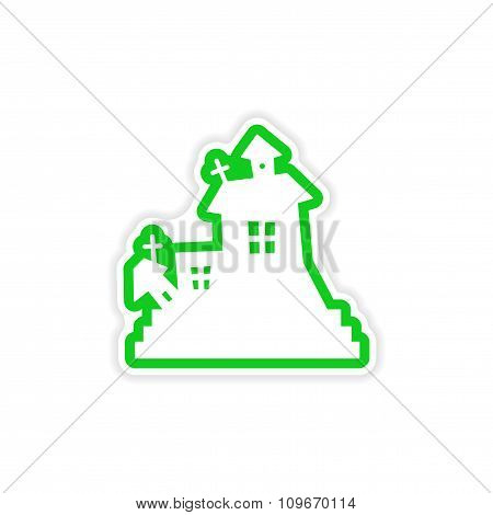 icon sticker realistic design on paper - haunted house