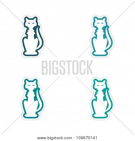 assembly realistic sticker design on paper cat