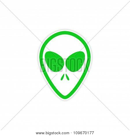 Sticker alien with big eyes on a white background