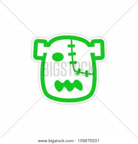 Sticker Zombie head on a white background