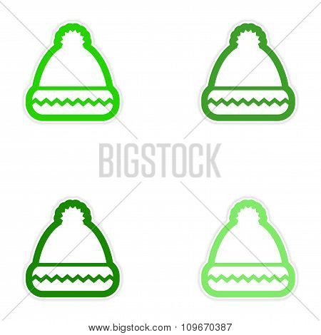 Set of paper stickers on white background Santa hats
