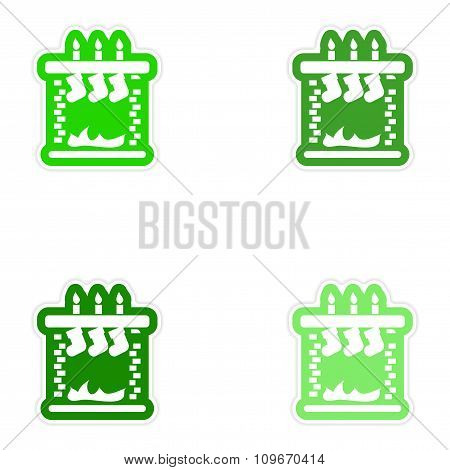Set of paper stickers on white background Christmas fireplace