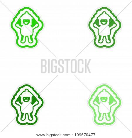 Set of paper stickers on white background child snow